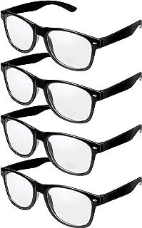 4 Pairs Retro Black Frame Glasses Clear Lens Eye Glasses Nerd Glasses for Halloween Decoration