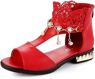 bebd8268c2d6 Mobnau Leather Fashion Bling Beaded Girls Sandals for Kids
