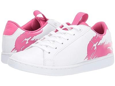 Lacoste Kids Carnaby Evo (Little Kid) (White/Dark Pink) Girl