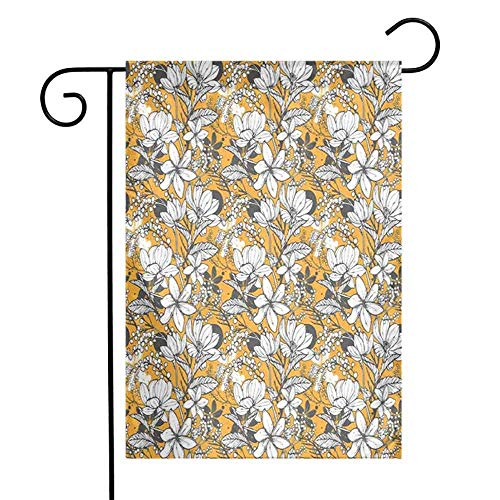 Floral Summer Holiday Double Sided Garden FlagHibiscus Plant Exotic Beach Island Theme with Tropical Sea Accents Holiday Double Sided Garden Flag12.5 'x 18' Marigold White Charcoal Grey