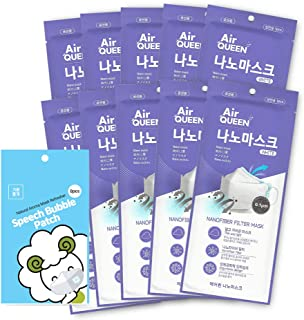 Air Queen Nano Mask 10 Packs,White Large Size and Mint Scented Mask Sticker, Speech Bubble, 8 Pcs per Pack, 1 Pack, Made i...