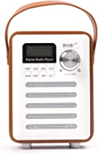 Portable DAB Retro Stereo Bluetooth Wood Digital FM Radio Audio Rechargeable (White+Brown)