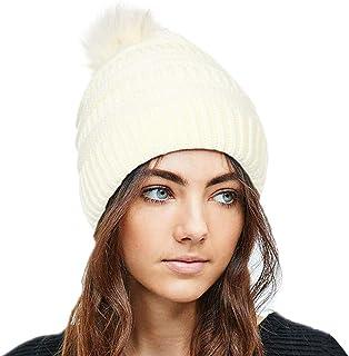 بوهيند قبعة صغيرة محبوكة للشتاء مع فرو صناعي بوم أبيض دافئ قبعة قبعة صغيرة لينة تمتد كابل اكسسوارات الشعر للنساء والفتيات