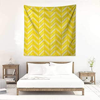 Yellow Chevron DIY Tapestry Vertical Retro Chevron Motif in Yellow Color Tones Home Decorations for Bedroom Dorm Decor 39W x 39L INCH Avocado Green Yellow Earth Yellow