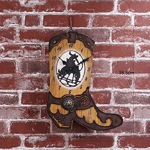 YEESEU Wall clock creative cowboy boots clocks Home living room retro ornaments electronic clock ornaments clocks
