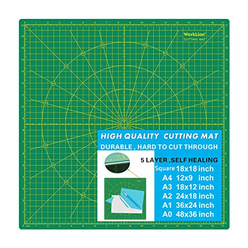 "WORKLION Self-Healing Cutting Mat 18"" x 18"" (17"" Grid): Durable Double Sided 5-Ply PVC Non Slip Square Cutting Board Mat for Sewing Quilting Scrapbooking Arts & Crafts Projects"