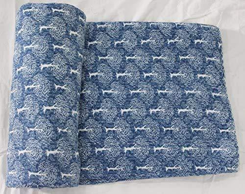 Mogi - Colcha de algodón con diseño de árbol indio, color índigo, color azul