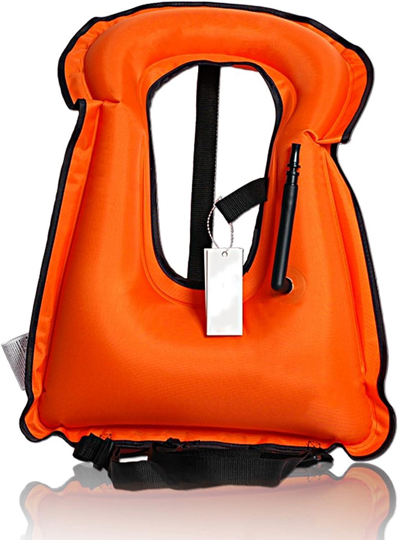 Isafish Portable Inflatable Life Vest Safety Kayak Diving Life Jacket Bright Coloured Buoyancy Vest Snorkel Vest for Adult Kids Fluorescent Green
