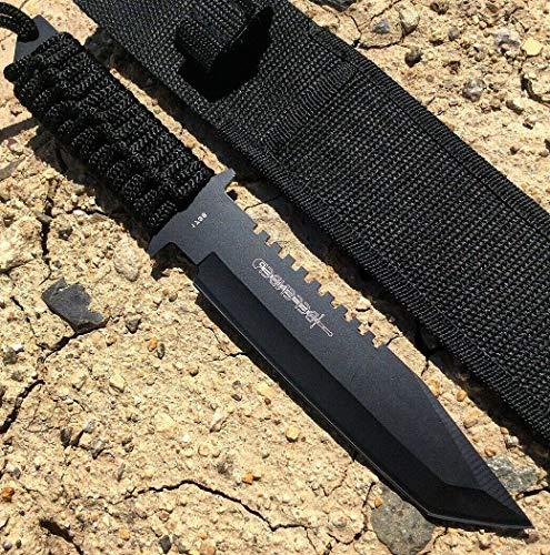 Defender 11  Black Tanto Hunting Knife Ultra Sharp Fixed Blade Knife With Sheath Camping Survival Pocket Knives