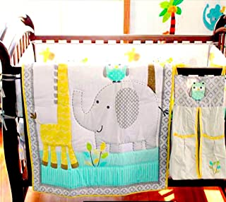 BabyCrib Unique Cute Adorable Elephant, Giraffe, Owl, Yellow and Gray, 10 Piece Bedding Set, Including Crib Bumper, Diaper Stacker, and Bonus Baby Monthly Milestone Blanket for Newborn Baby Boy/Girl.