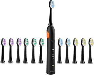 SimpliSonic Ultrasonic Rechargeable Electric Toothbrush Premium Package w/ 12 Heads (Black)