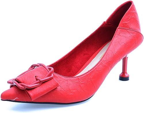 GTVERNH Mode Chaussures femme 7Cm Talon Haut Summer Sexy Forte Tête Ceinture Petite Bouche Et Bien Le Talon Night - Club Chaussures Les Chaussures.Trente - Sept noir