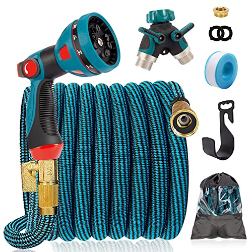 IDEALHOUSE 100FT Expandable Garden Hose, 10 Function Spray Gun with 3/4' Solid Brass Fittings, 2-Way...