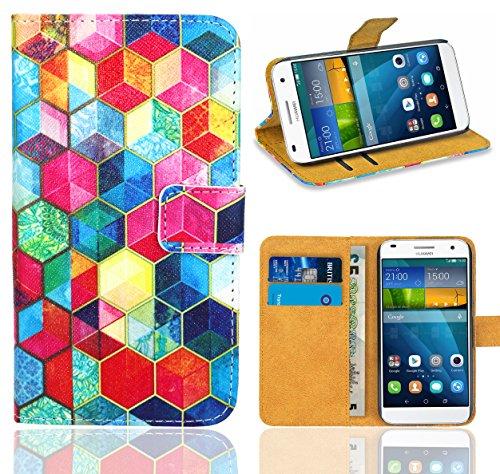 FoneExpert® Huawei Ascend G7 Handy Tasche, Wallet Hülle Flip Cover Hüllen Etui Ledertasche Lederhülle Premium Schutzhülle für Huawei Ascend G7 (Pattern 2)