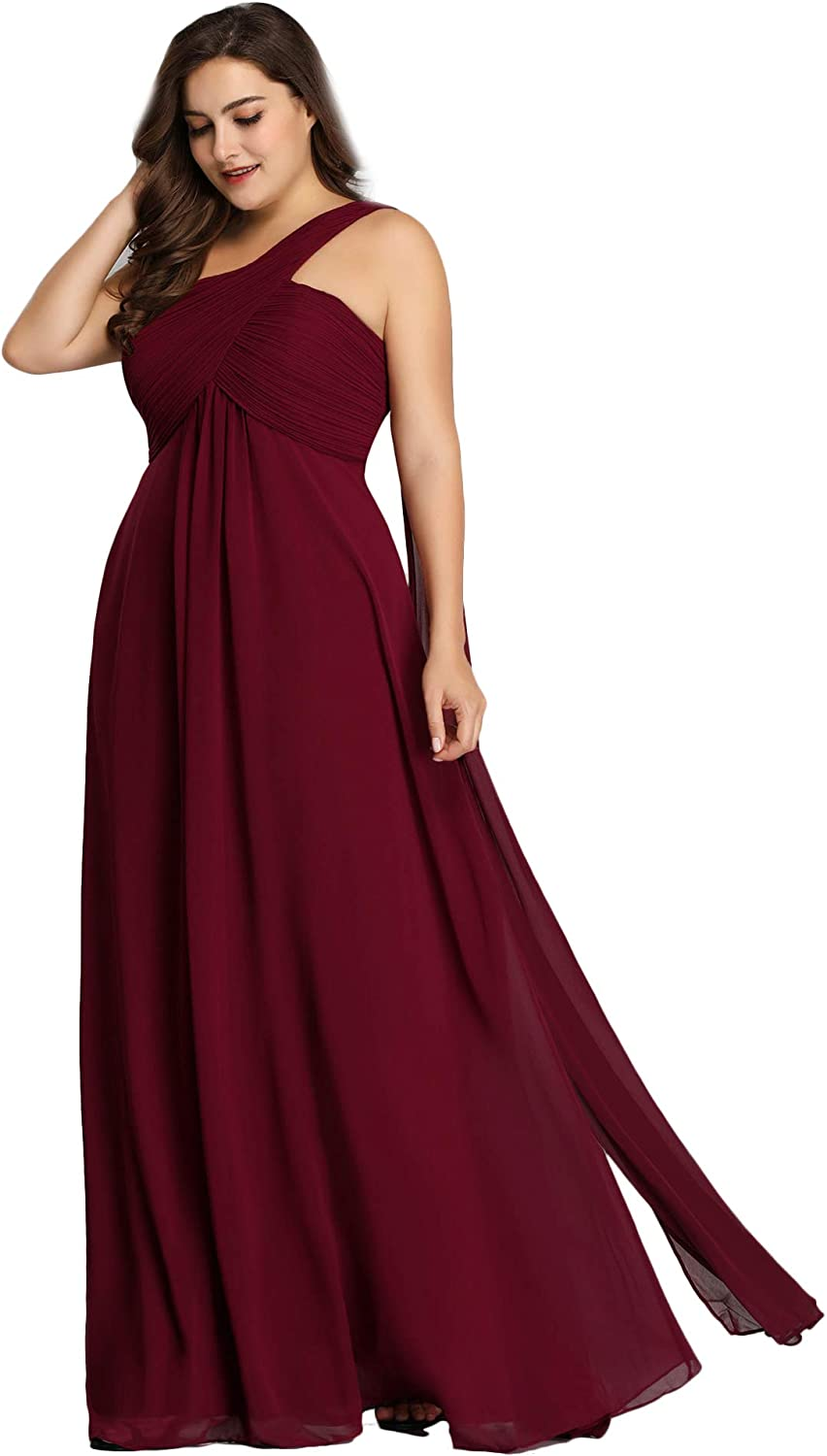 Ever-Pretty Womens Plus Size Popular overseas Free shipping One Shoulder Ruched Chiffon Bridesm