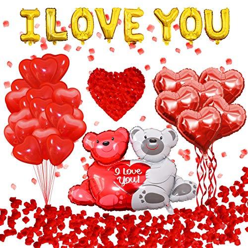 Globos de corazón | Juego de globos de oso de peluche | Juego de 1000 pétalos de rosa | Globos con letras doradas I Love You para decoraciones de globos de fiesta de boda del día de San Valentín
