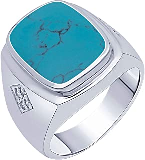 Peora 925 Sterling Silver White Gold Rhodium Plated Rectangle Turquoise Men's Ring