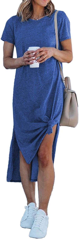 Alaster Women's Casual T-Shirt Midi DressShort SleeveSummer High Splits Dress with Pocket High Low Solid Midi Dress