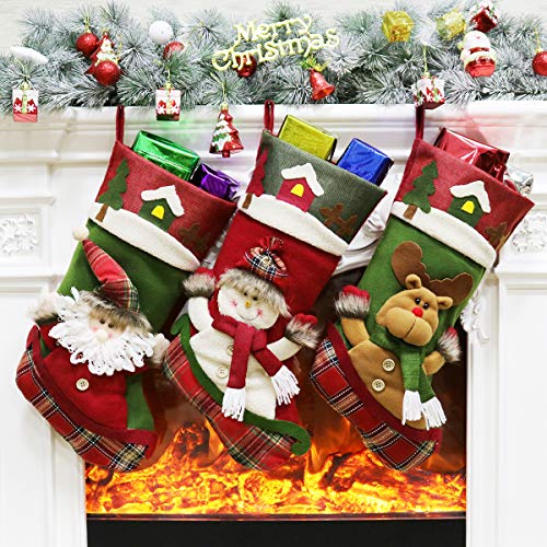 Aitey Christmas Big Stocking, 18' Xmas Stockings Set of 3 Character Santa, Snowman, Reindeer 3D Plush with Faux Fur Cuff Party Favor Supplies for Kids 3