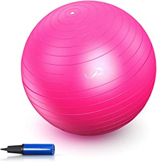 JBM Exercise Yoga Ball with Free Air Pump 200 lbs Slip-Resistant Yoga Balance Stability Swiss Ball for Fitness Exercise Training Core Strength (Pink,  65cm)