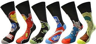SnoWas-UK, 6 pares / 3 pares de calcetines con diseños de superhéroes de Marvel, Spiderman, Hulk, Capitán América, Iron Man