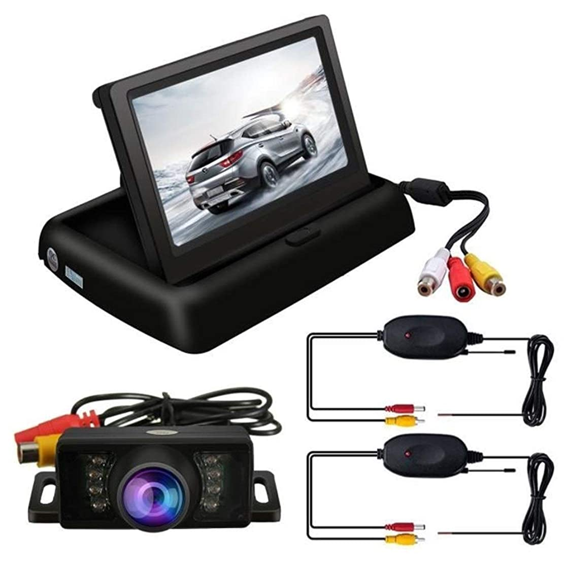 FUNXS Wireless Reversing Camera - Folding Monitoring Kit HD Car Reversing Rear View Camera + 4.3 Inch LCD Folding Display Parking Assist System Car On-Dash Mounted Cameras