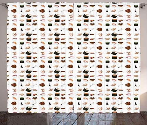 ABAKUHAUS Wasabi Cortinas, Elementos de Cocina Japonesa, Sala de Estar Dormitorio Cortinas Ventana Set de Dos Paños, 280 x 245 cm, Multicolor