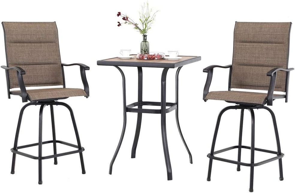 PHI VILLA Swivel Bar Stools Set 3 PC Outdoor Kitchen Bar Height Patio Bistro Set Padded Sling Fabric, All-Weather Patio Furniture