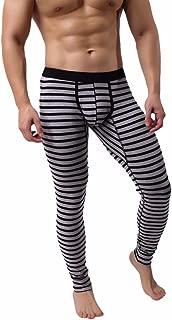 Fxbar,Men's Long Johns Thermal Pant Stripes Underpants Sleepwear Pouch Underpants