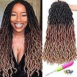 18 Inch Goddess Faux locs Crochet Hair 6 Packs/Lot Soft Gypsy Loc Wavy Crochet Braids Dreadlocks 3 Tone Curly Wavy Twist Braiding Hair Extensions 24 Strands/Pack African Roots Braid(#1B/30/27)