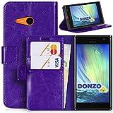 DONZO Tasche Handyhülle Cover Hülle für das Nokia Lumia 730 in Violett Wallet Washed als Etui seitlich aufklappbar im Book-Style mit Kartenfach nutzbar als Geldbörse