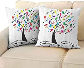QIAOQIAOLO Pack of 2 Multifunctional Pillowcase Music Decor Easy to Care 24x24 inch Tree with Musical Notes and Birds Branch Happy Jolly Celebrating Playful