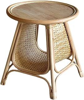 الروطان الجانب طاولة صغيرة جولة طاولة القهوة مع تخزين الجدول نهاية اليدوية لغرفة المعيشة مجلة رف (Color : Natural, Size : ...