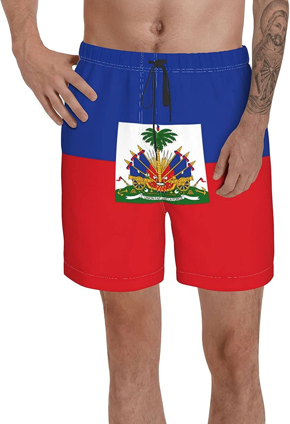Count Haiti Flag Men's 3D Printed Funny Summer Quick Dry Swim Short Board Shorts with