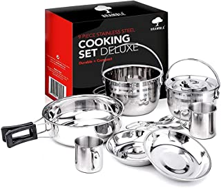 10 Piece Camping Cooking Set, Premium Stainless Steel - Compact & Portable Cookware Set, Pots & Pans for Summer Outdoor Cooking, Backpacking, Hiking Trekking, Picnic, Mountaineering, Fishing.