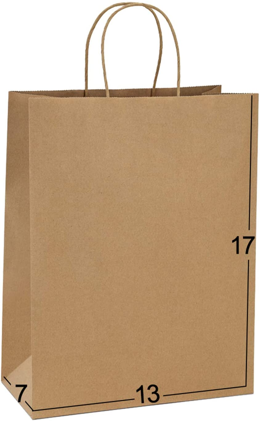 Paper Bags 13x7x17 50Pcs BagDream Gift Bags, Party Bags, Shopping Bags, Retail Bags, Merchandise Bags, Recycled Brown Kraft Paper Bags with Handles Bulk