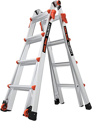 Little Giant Ladders, Velocity with Wheels, M17, 17 Ft, Multi-Position Ladder, Aluminum, Type 1A, 300 lbs Weight Rati...