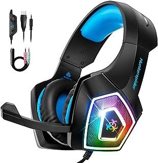 Bovon Casque Gamer PS4, Casque Xbox One Filaire avec Microphone Réduction du Bruit & RGB LED Lumière, Over-Ear Casque Gami...