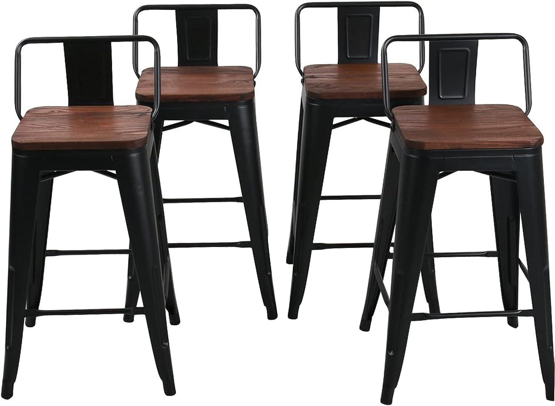9 Inch Metal Bar Stools Counter Stool Modern Barstools Industrial Bar  Stools Set of 99 inch, Black