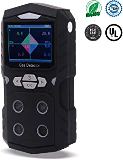 4 Gas Detector, KOABBIT Portable Gas Detector 4 in 1 Multi Gas Monitor,Propane,Gas Leak Detector,LCD Color Display with Clear Sound Alarm, Light Shock Air Quality Tester, 2-Year Detector