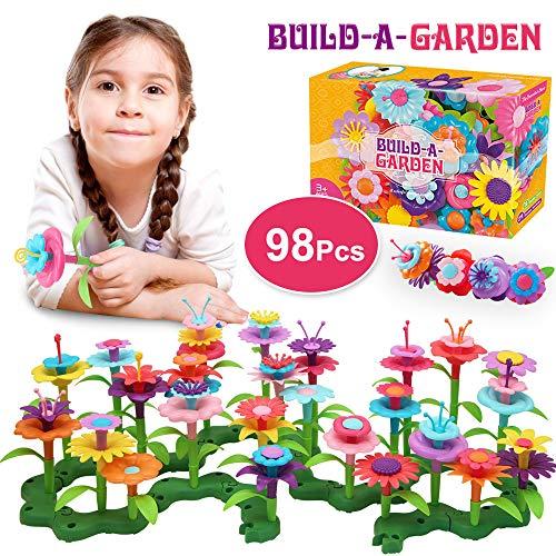 HUADADA Kinder Blumengarten Spielzeug,Blume Bausteine für Kinder Bauspielzeug,Kinder Outdoor Spielzeug DIY Bouquet Set, Spielzeug ab 3 4 5 6 Jahre mädchen .(98 PCS)