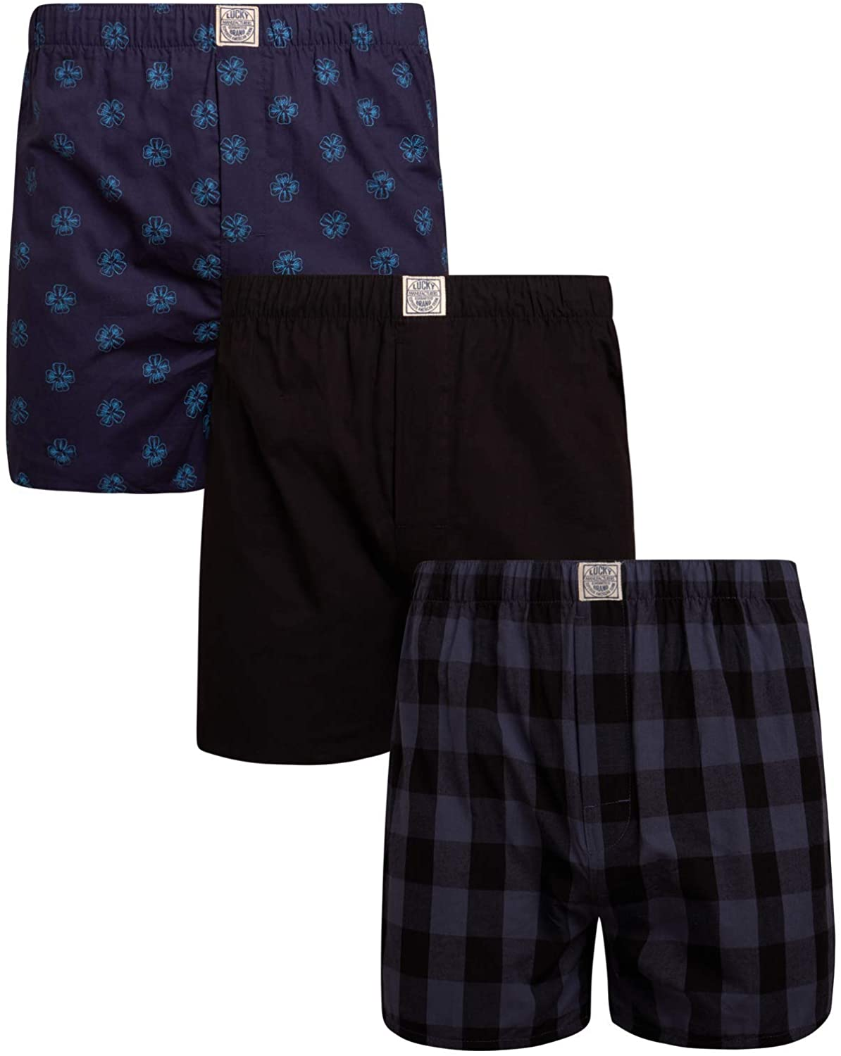 Lucky Brand Men's Woven Cotton Elastic Waist Boxer with Functional Fly (3 Pack)