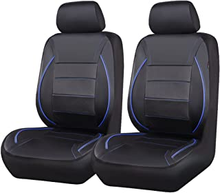 CAR PASS Universal FIT Piping Leather Car Seat Cover, for suvs,Van,Trucks,Airbag Compatible,Reserved Opening Holes for headrest Covers(6PCS, Black and Blue)