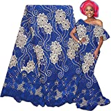 LadyQ Latest African Lace Fabric 2019 Nigerian Lace Fabric White Swiss Cord Tulle French Laces Fabrics with Stones 3354LD (Royal Blue)