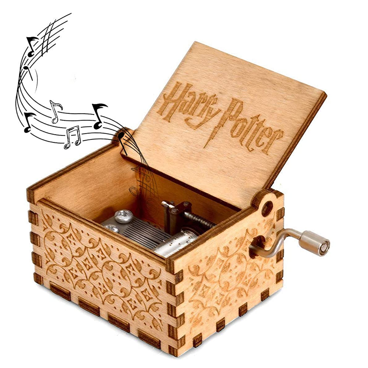 Yoomarket Music Box for Harry Potter Hedwig's Theme Carved Wooden Hand Crank Musical Box Vintage Classic Handmade Engraved Children's Day Birthday Gift for Kids, Boys, Girls, Friends