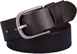H-M-STUDIO MenS Belt Leather Top Layer Leather Youth Pin Buckle Casual Belt Wild Retro MenS Belt Dark Brown 135Cm
