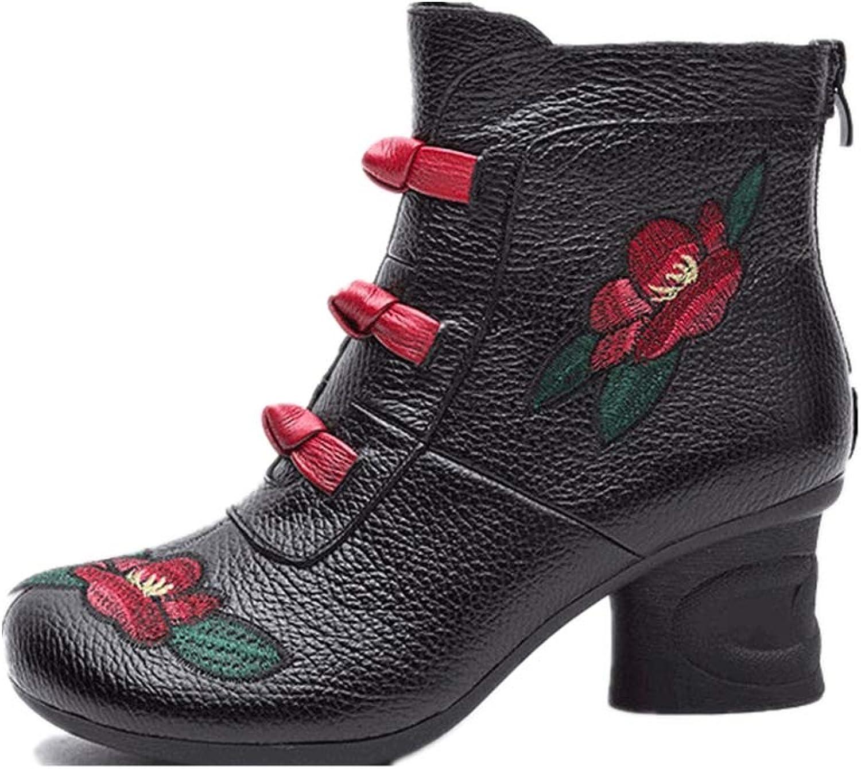 Gaslinyuan Stickerei Stiefel Frauen Blaume Leder Block Zipper Schuhe Schuhe Schuhe (Farbe   Schwarz, Größe   EU 39)  c90323
