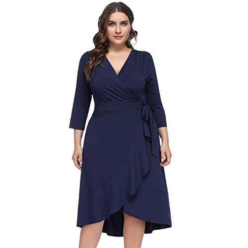 2a59ab9564b Hanna Nikole Women s Plus Size 3 4 Sleeve V-Neck Irregular Hem A-