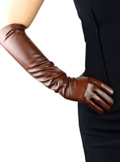Women's Long Evening Dress Faux Leather Elbow Length Party Gloves
