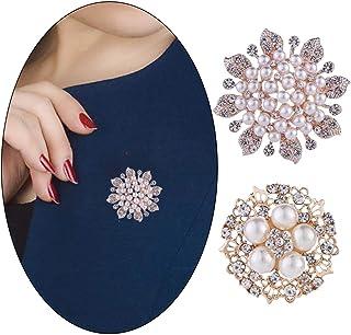 Woeoe Flower Wreath Austrian Crystal Brooches Pins Gold Rhinestone Wedding Brooch Pins Pearl Shawl Scarf Clothing Buckle P...